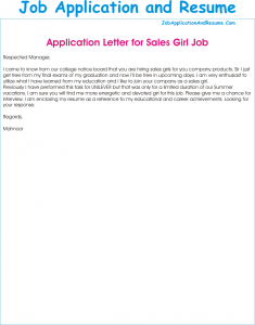 Job Application As A Sales Girl